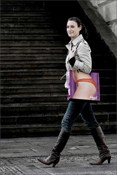 Bagvertising II - Lingerie Shopping Bag Draws Attention