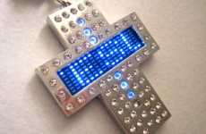 Customizable Blue LED Crucifix