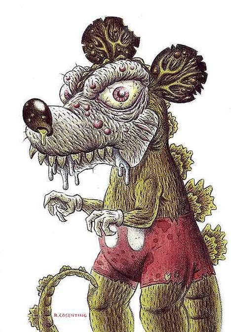 Horrifying Cartoon Caricatures - Ralph Consentino Turns Disney Characters into Rabid Animals