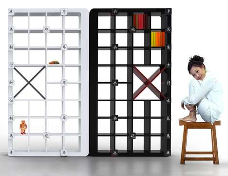 Strategy Game Furniture - The Chinese Checkered Bookshelf Features Movable Chess Pieces