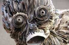 Detailed Newspaper Sculptures - Nick Georgiou Transforms Old Papers into Works of Art