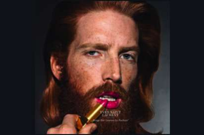 Bearded Makeup Models - Lip Service by Armin Morbach Frames Gentlemen Wearing Magenta