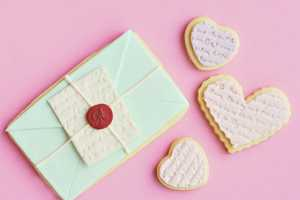 Scripted Heart and Love Letter Cookies are Cute Valentine Treats