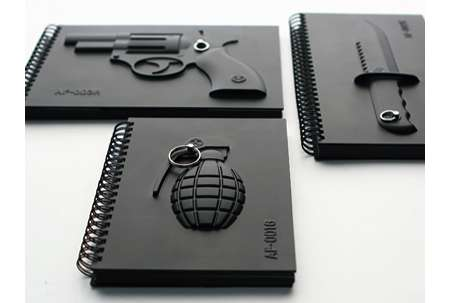 Forbidding Firearm Journals - MollaSpace Armed Notebooks Threaten Unprivy Prying Eyes