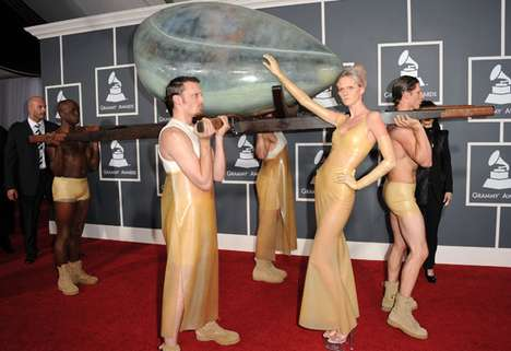 Lady Gaga Arrives to the 53rd Grammys in an Egg