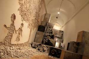 The 'Museum in Ruins' Exhibit Features Work Carved Into the Building