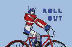 Biking Superheroes - Line Draw Depicts Iconic Comic-Book Characters on Two-Wheelers