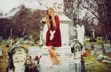 Cemetery Photoshoots - The Remy Ryan Wallflower Editorial is Ethereal and Enthralling
