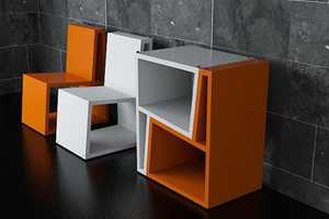 The Elemento Diseno Bi Chairs Flip Up to Form Tables and Shelves