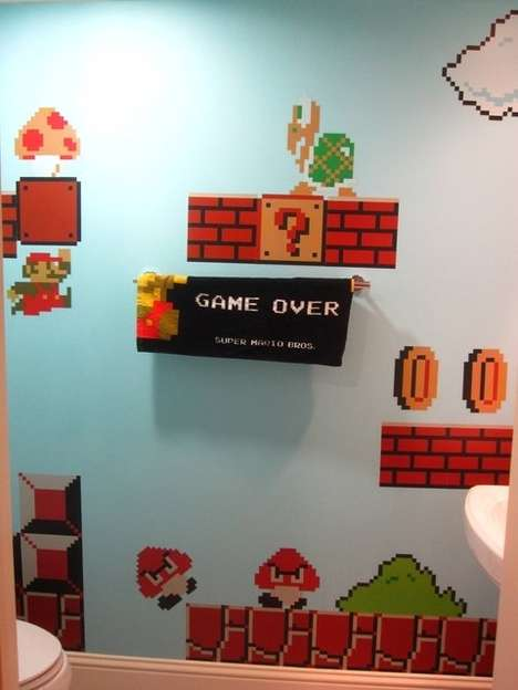 Wicked Gamer Washrooms - The Super Mario Bros Bathroom is a Tribute to the Little Plumber