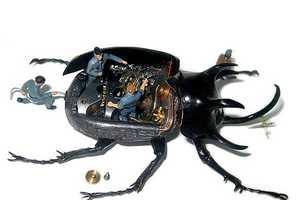 Scott Bain Micromachina Art Turns Taxidermy Bugs Into Interactive Scenes