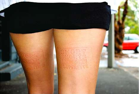 Body Imprint Promotions - Superette Short Shorts Sale Ads Discreetly Promote on Your Thighs