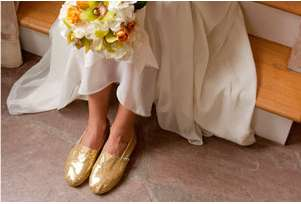 Golden Bridal Flats - The New TOMS Shoes Wedding Collection is Specially Made for Your Big Day