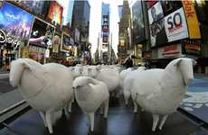 Metropolitan Farm Animals - Sheep Sculptures by Kyu Seok Oh Turn Times Square Agrarian