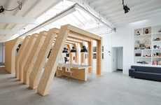Timber-Ribbed Cubicles - Onesize Studio by Origins Architecture Redefines the Workspace