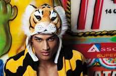 Faux Tiger Head Hoodies