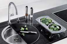 Cutting Board Basins - The BLANCORONIS Kitchen Sink Blends Seamlessly into the Counter Top