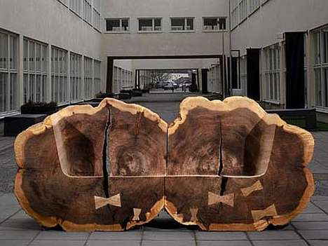 Tree Trunk Benches - 'Homage to the Elm Trees' by Lies-Marie Hoffmann is an Eco Art Reminder
