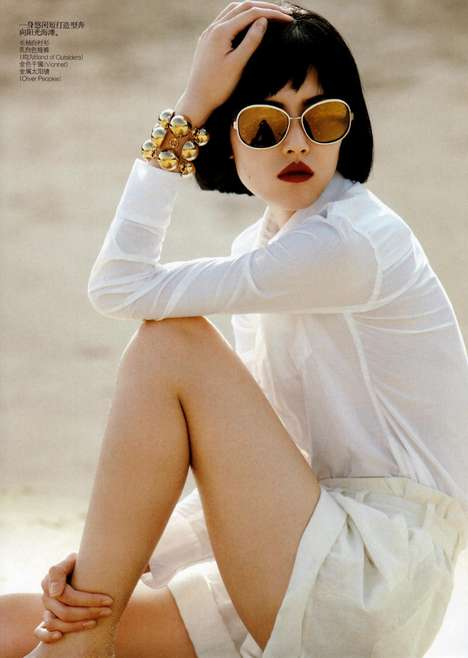 Seaside Spring Styles - Liu Wen Soaks up the Sun in Vogue China