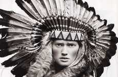 Urban Native American Fashion - Vogue Spain Editorial Features the Fierce Toni Garrn