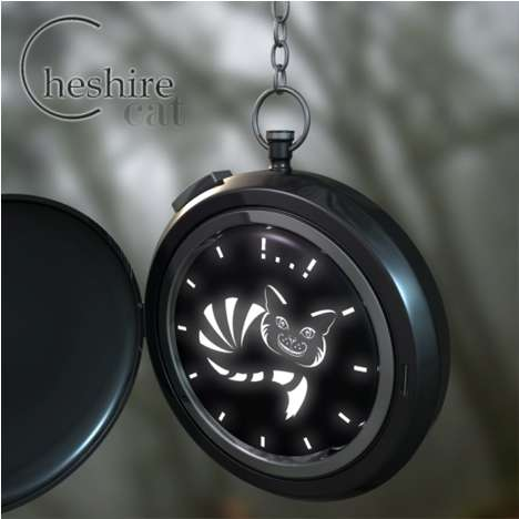 Mischievous Feline Timepieces - The Cheshire Cat Pocket Watch is Wonderland-Inspired
