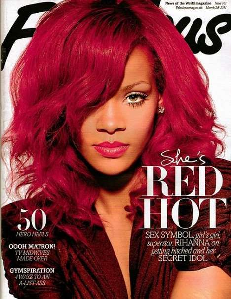 Matching Lips and Hair - Rihanna Covers Fabulous With Red Hot Photos to Match Her Red Hot 'Do