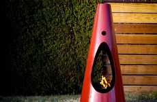 Conical Freestanding Fireplaces - The Modfires by Brandon Williams are Colorful and Contemporary