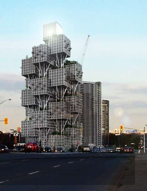 Squared-Off Skyscrapers - The Eco-Friendly Urban Tree by Geotectura is a Real-Life Jenga Building