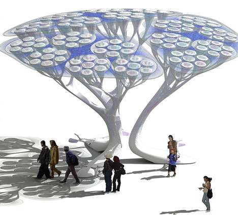 Synthetic Eco Trees - Treepods Clean Air in Urban Jungles Without Soil, Water or Upkeep