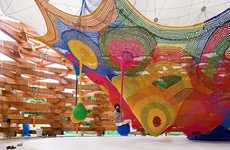 Rainbow Rope Playgrounds - Skill Forest Climbing Net Makes the Hakone Pavillion a Magical Place