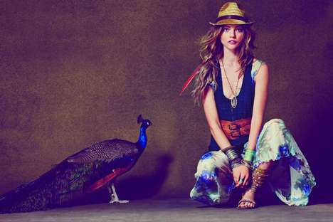 Majestic Tribal Fashion - The Sasha Pivovarova Free People April 2011 Catalogue is Colorfully Casual