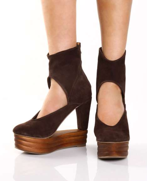 Jeffrey Campbell Ferme Brown Suede Architectural Ankle Boots