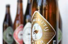 Birdbrained Bottle Labels - Brouwerij 't Ij Beer Features a Colorful Ostrich Insignia