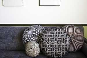 The Sewer Cover Pillow Series is Intricately Detailed