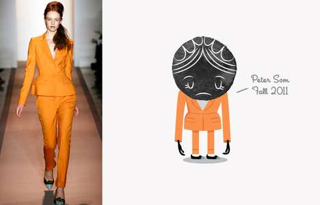 Depressed Fashion Illustrations - These Natalia Grosner New York Fashion Week Prints are Adorable