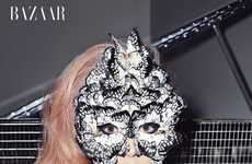 Butterfly Face Masks - Lady Gaga Shows Her Soft and Pretty Side to Harper's Bazaar