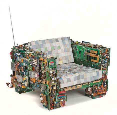 E-Waste Loungers - The Binary Chair is Made from Salvaged Computer Components