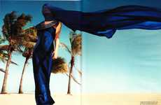 Sapphire Beach Fashion - The Julia Stegner Vogue Germany Editorial Exudes Bold Blue