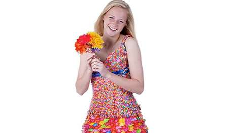 Candy Wrapper Prom Dresses - Tara Frey Dons a Dress Made Out of Starburst Wrappers