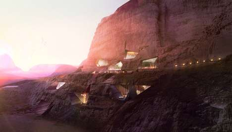 Rock-Cut Desert Lodges - Oppenheim Architecture and Design Creates a Hotel Inside Desert Rocks