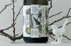 Licensed Bird-Watching Labels - W.Wagtail Wine Packaging Has an Academic Avian Flair