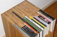 Slotted Novel Furniture - The Custom Stacked Book Side Table Works Around the Built-In Literature