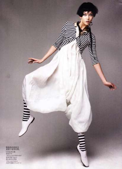 Playful Pantomime Fashion - Graphic Play by Patrick Demarchelier is Entertaining Elegance