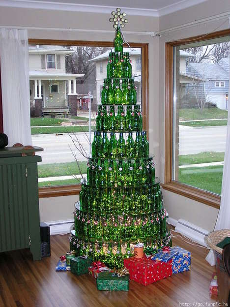5 Recycled Bottle Christmas Trees