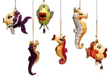 Sparkly Aquatic Ornaments