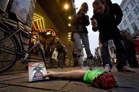 Severed Arm Holds DVD - Guerrilla Marketing for Death Proof