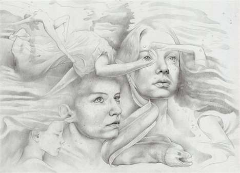 Ethereal Illustrated Portraits - Sam Octigan's Varied Artistic Work is Expressively Melancholic