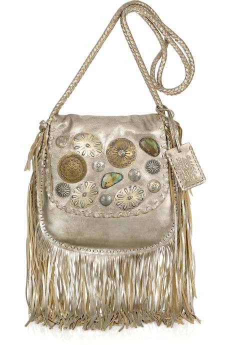 Embellished Fringed Leather Shoulder Bag