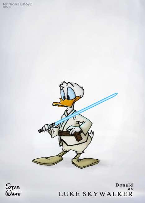 Combined Character Illustrations - Nate Boyd Illustrates a Mashup of Disney and Star Wars