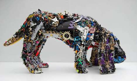 Kitschy Salvaged Statuettes - Robert Bradford's Recycled Toy Sculptures are Made of Old Plastic